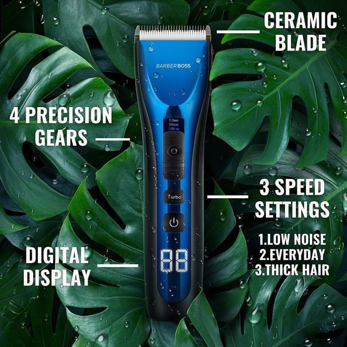 BarberBoss Tondeuse à cheveux professionnelle pour homme et enfant Étanche - Sans fil - Rechargeable - Affichage LED Trois vitesses