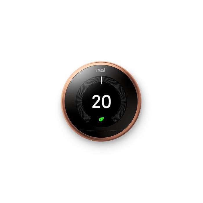 Pack thermostat connecté cuivre et support Nest