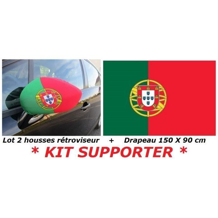 * EURO 2021 * PACK 2 HOUSSES RETROVISEUR VOITURE PORTUGAL PORTUGAIS + 1 DRAPEAU 150 X 90 cm no Maillot Écharpe Fanion ...