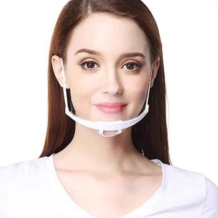 30pcs Visière de Protection Réutilisable, Masque Transparent Visage Anti-Salive Anti-buée Couvre Bouche et Nez Facial Protection