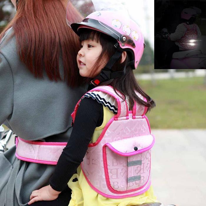 Ceinture de sécurité de Moto pour Enfant Étanche réglable Harnais de résistance siège de sécurité avec bandes réfléchissantes rose