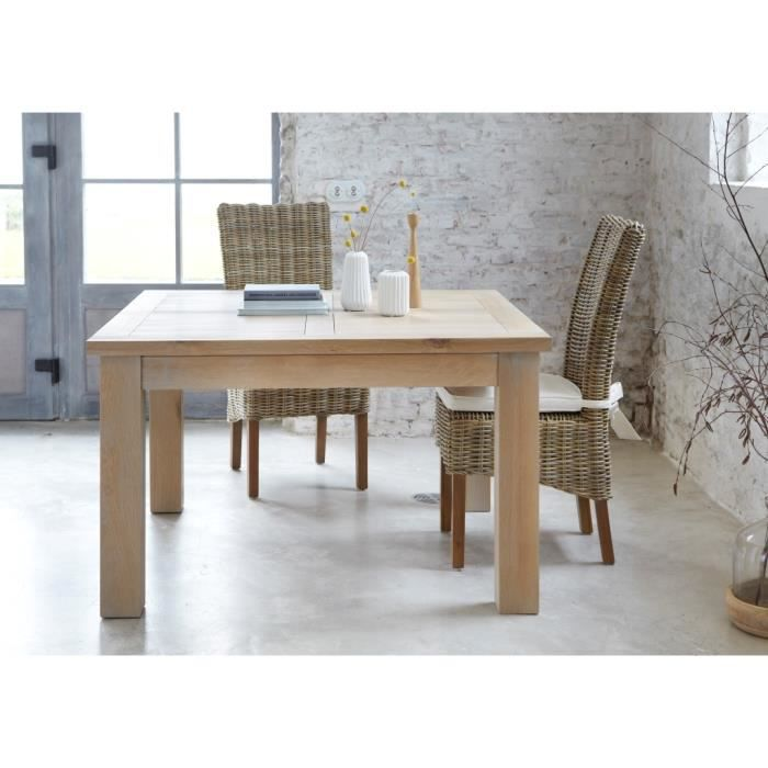 Table carr e ch ne massif 39 bella 39 125cm achat vente for Table de sejour carree