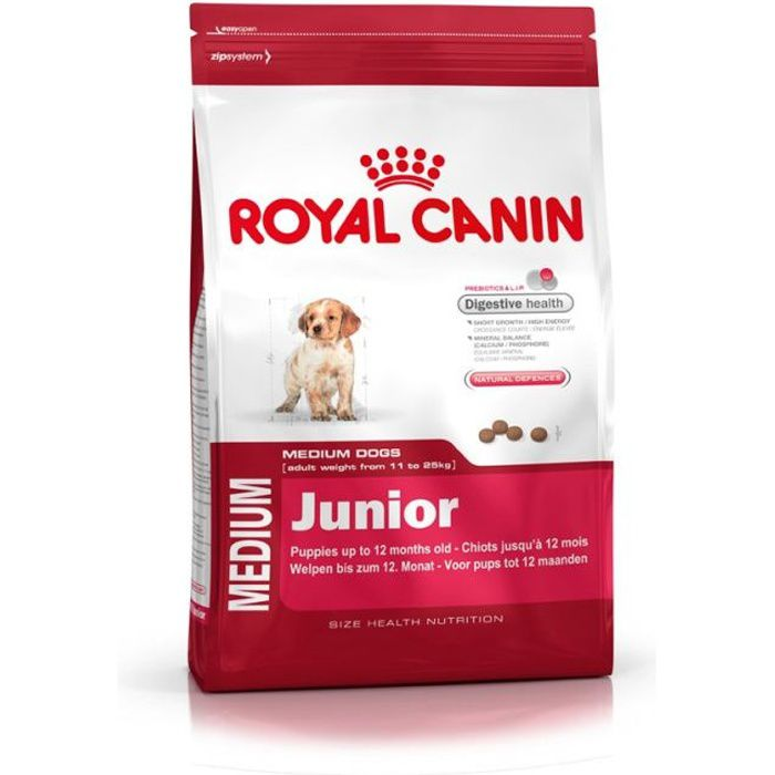croquettes royal canin medium junior sac 15 kg achat. Black Bedroom Furniture Sets. Home Design Ideas