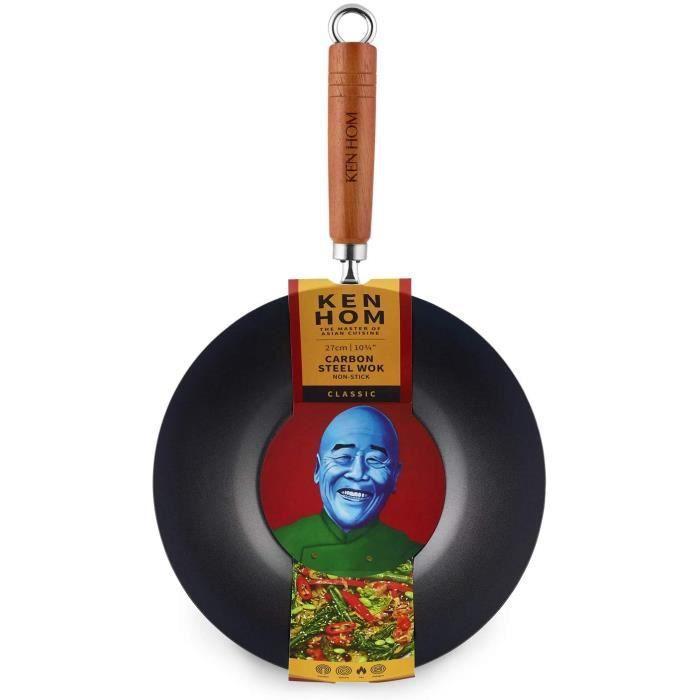 Ken Hom KH436003 Wok Traditionnel en Acier Carbone /ø36 cm Compatible Induction Gris
