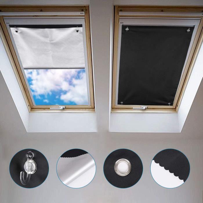 Johgee Store Occultant Sans Perçage Pour Velux Ggl P06 Et 406 76 X 93 Cm Rideau Occultant Thermiques Avec Ventouse Protection S