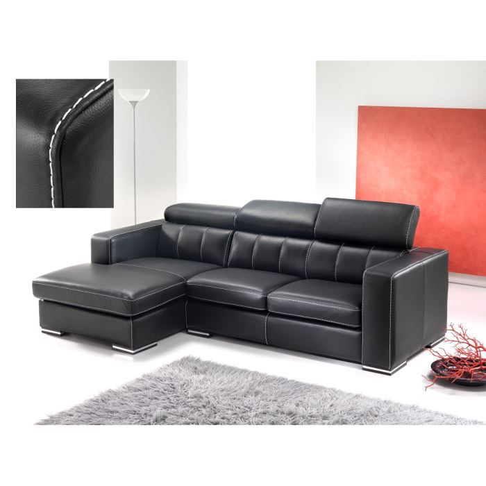 Canape d 39 angle cuir benny achat vente canap sofa for Achat canape cuir