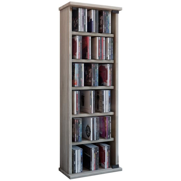 Vetro commode tour rangement biblioth que cd dvd 150 cd sonoma ch ne achat - Bibliotheque dvd meuble ...