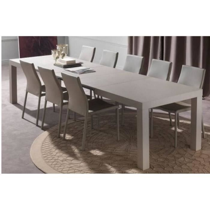 Table repas extensible fusion taupe clair achat vente for Table a manger carre extensible