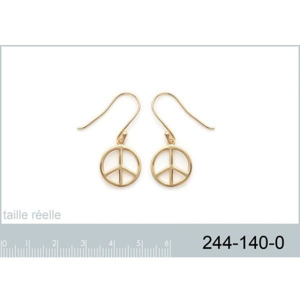 Boucles d 39 oreilles peace and love en plaqu or achat - Boucle d oreille peace and love ...