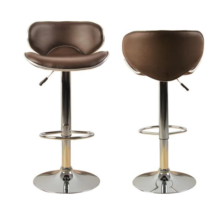lot de 2 tabourets de bar ilot central cuisine bistrot simili cuir marron poker achat vente. Black Bedroom Furniture Sets. Home Design Ideas