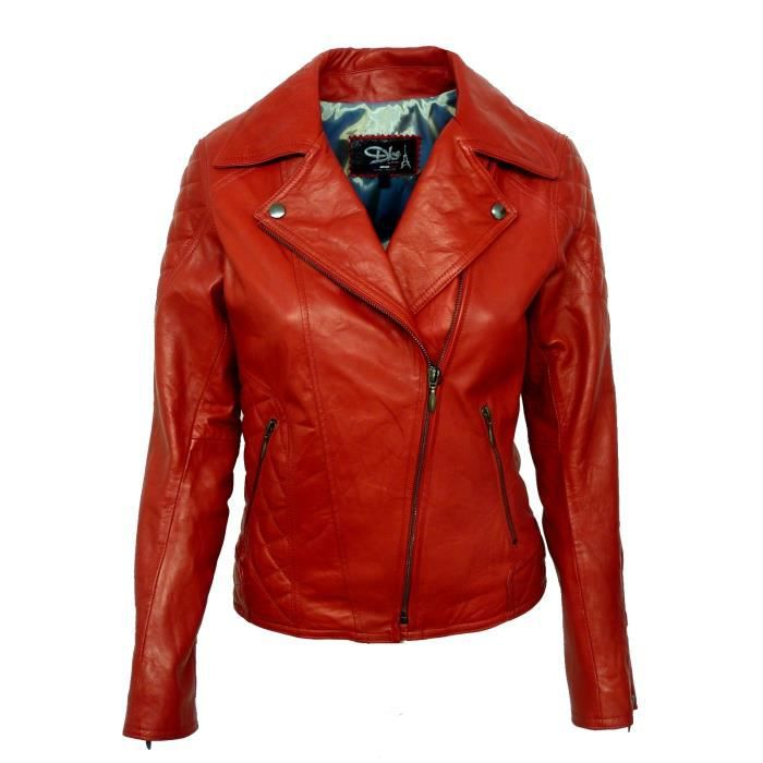 Blouson cuir femme made in france dks bro008 rouge rouge achat vente blou - Canape cuir made in france ...