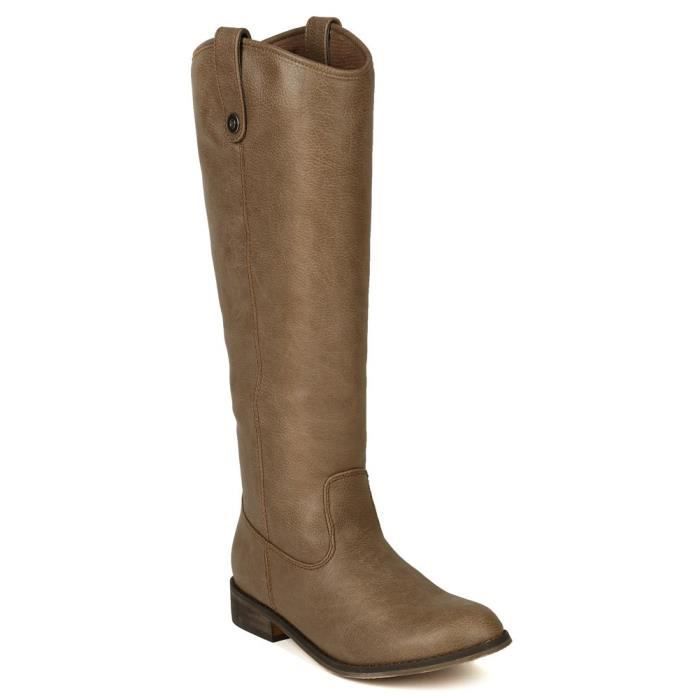 Ae45 Leatherette Round Toe Riding Knee High Boot R3XVA Taille-40