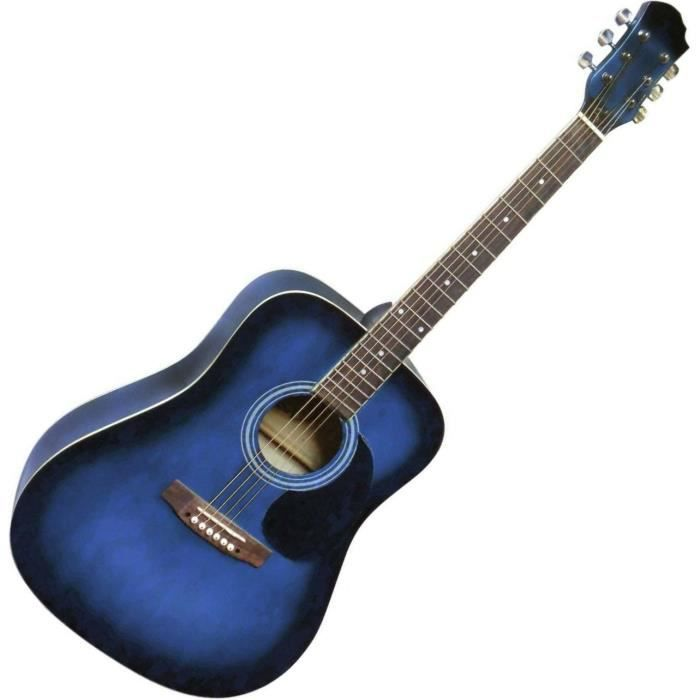 guitare acoustique folk bleue nuit 4 4 pas cher achat. Black Bedroom Furniture Sets. Home Design Ideas