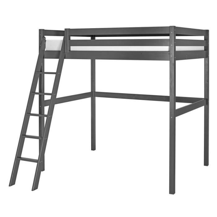 lit mezzanine wood 140x200 gris achat vente lit mezzanine lit mezzanine 140x200 gris cdiscount. Black Bedroom Furniture Sets. Home Design Ideas