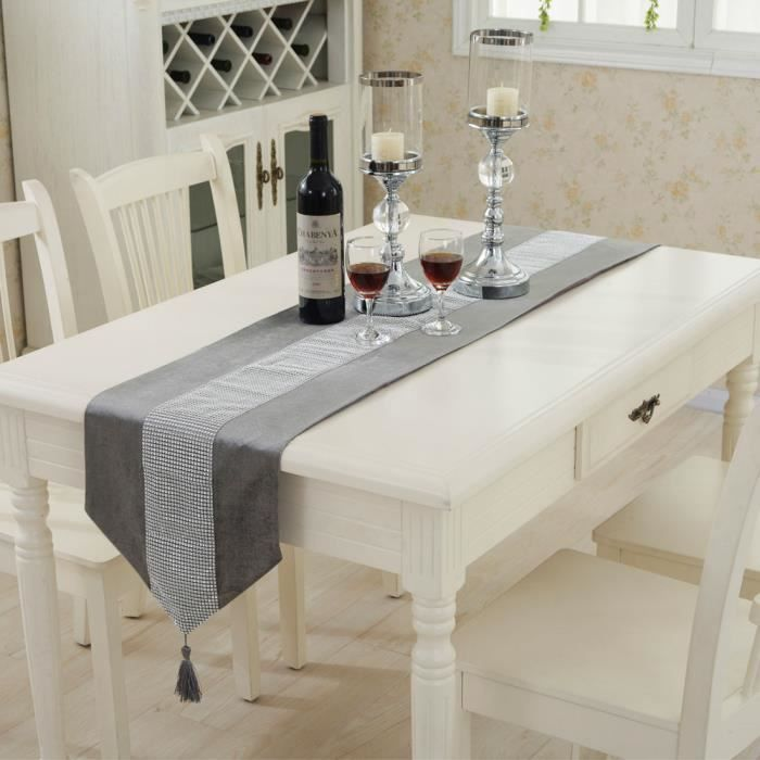 c52bf41958a798 Diamant factice de Luxe velours Chemin de table Mariage Décor 32 x 250 cm  gris
