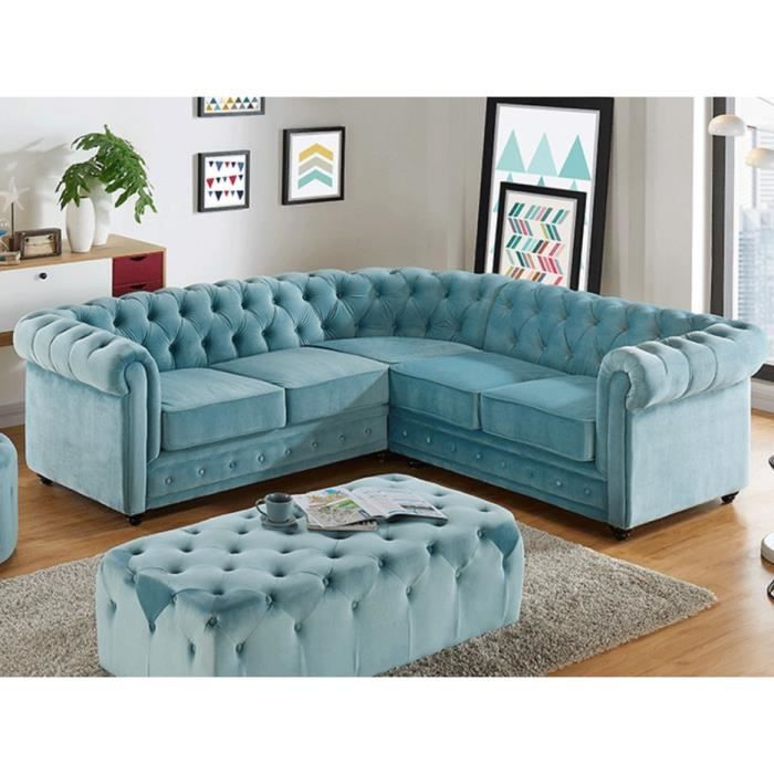 canap d 39 angle en velours chesterfield bleu pastel achat vente canap sofa divan. Black Bedroom Furniture Sets. Home Design Ideas
