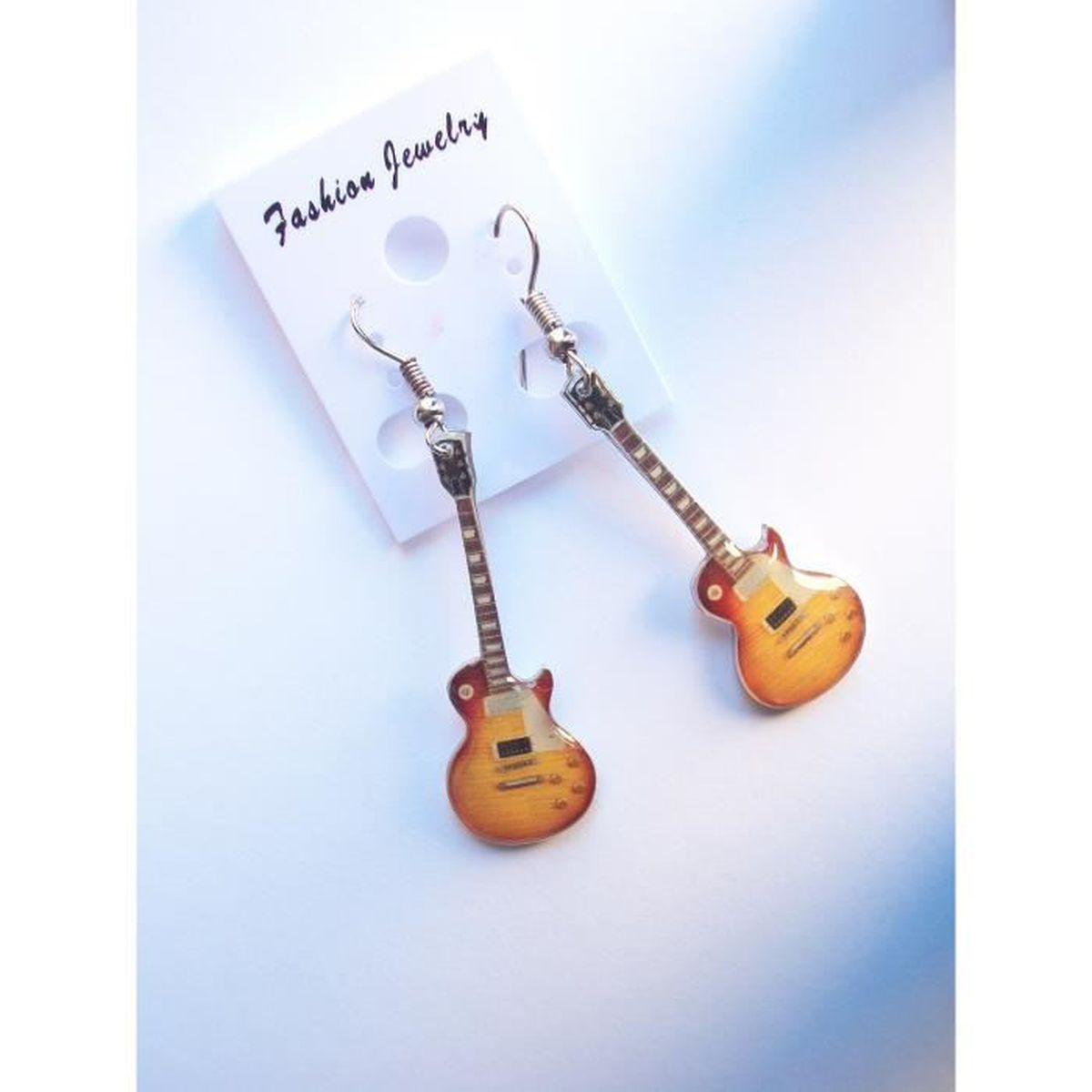 Rock Guitare Électrique Paire de Boucles D/'Oreille Pendentif en Argent Métal