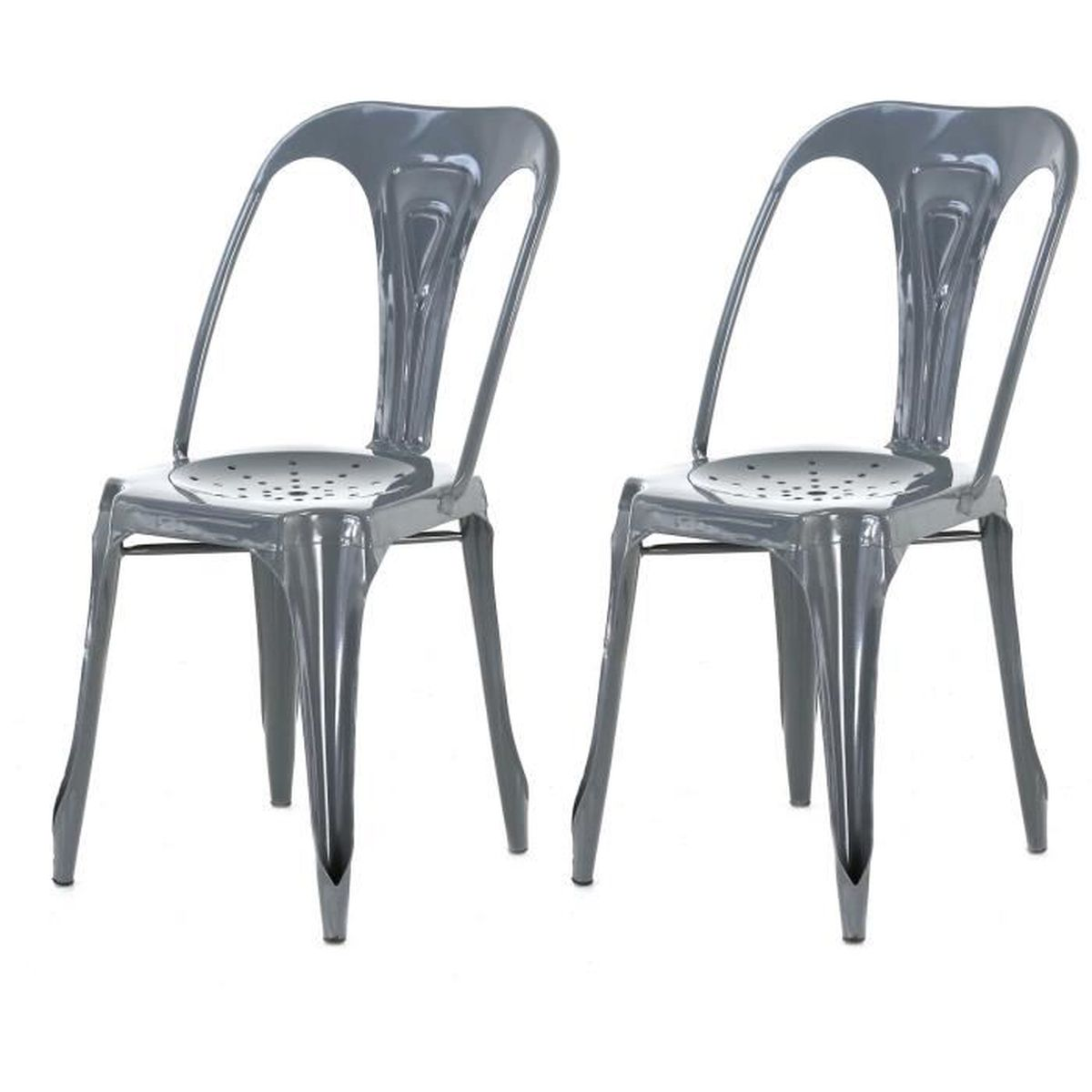 lot de 2 chaises industrielles grise m tal kirk achat vente chaise cdiscount. Black Bedroom Furniture Sets. Home Design Ideas