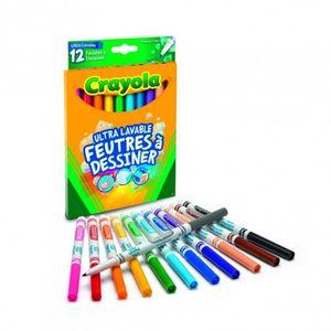 FEUTRES Crayola - 12 Feutres à dessiner ultra lavables (po