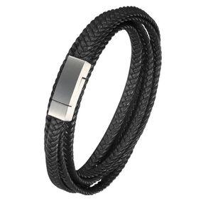 Bracelet Mince en Cuir Bleu 4mm tress/é Unisexe 20cm par Tribal Steel Fermoir /à ba/ïonnette s/écuris/é avec Aimant suppl/émentaire pour Hommes ou Femmes