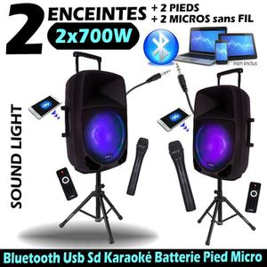PACK SONO PACK 2 ENCEINTES SONO 2x700W PORTABLE avec BATTERI