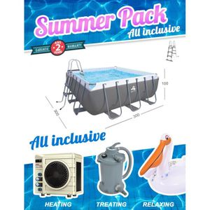 PISCINE Summer Pack Piscine carrée Passaat 300x300x100cm +