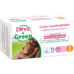 COUCHE LOVE AND GREEN Couches ecolabellisées Taille 3 - 5