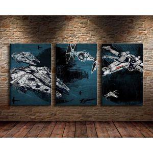 TABLEAU - TOILE 3Pcs Star Wars- Battleship-Millennium Falcon Toile