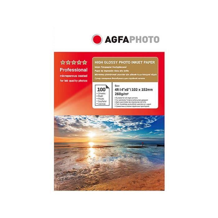 Papier photo A6 AgfaPhoto finition Brillant 260g Jet d'encre - AP260100A6