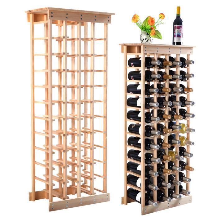 DREAMADE Etagère à Bouteille Casier à Vin Porte bouteille avec 10 Etagères et 44 Emplacements en Pin Couleur du bois
