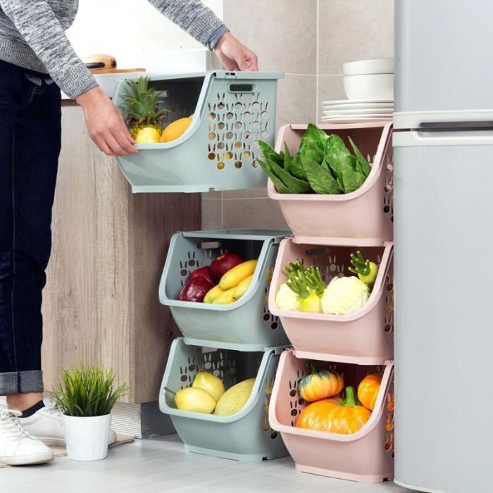 Paniers De Rangement En Plastique - Meubles Cuisine, Empilables Pour Jouets Plastique, À Légumes, Étagères Salle Bains #03