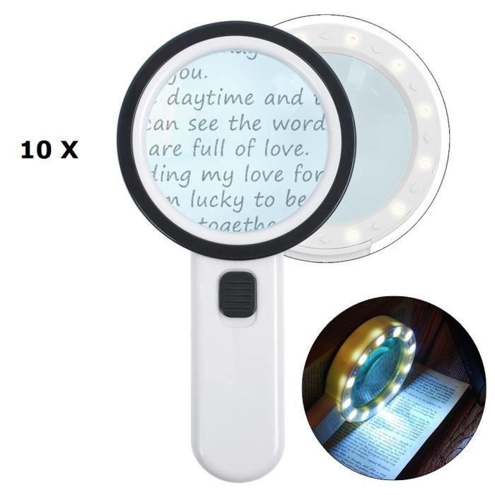 Loupe deuxième génération 10 fois AIXPI loupe éclairage lampe loupe loupe loupe 12 LED poche LED loupe bijoux loupe lecture
