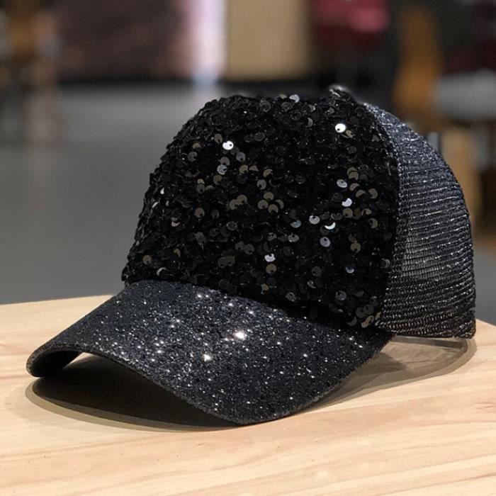 Sanpback – casquette en maille pour femmes, chapeau de baseball à paillettes, mode décontracté, style hip hop, [7603D3C]
