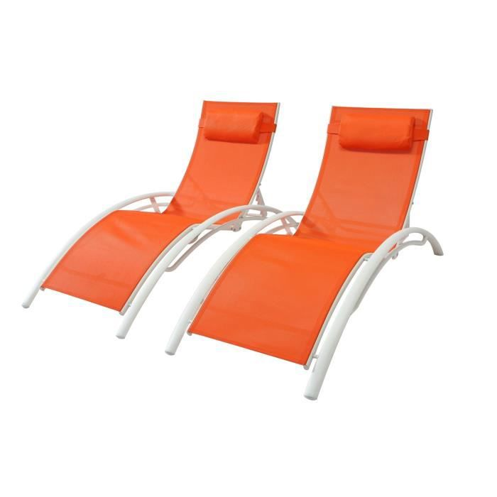 Duo de transats Bahia en aluminium - Orange-Blanc