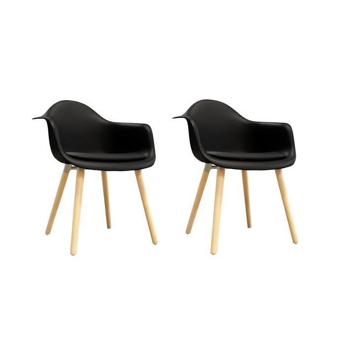 2 chaises NOIRES accoudoir - fauteuils design vintage scandinave - pieds bois - HANS