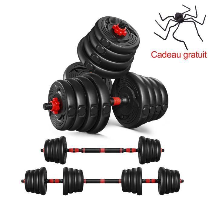 Lot de 2 Haltères 30kg - Paire d'haltères Dumbbell Musculation Fitness Homme et Femme - Noir