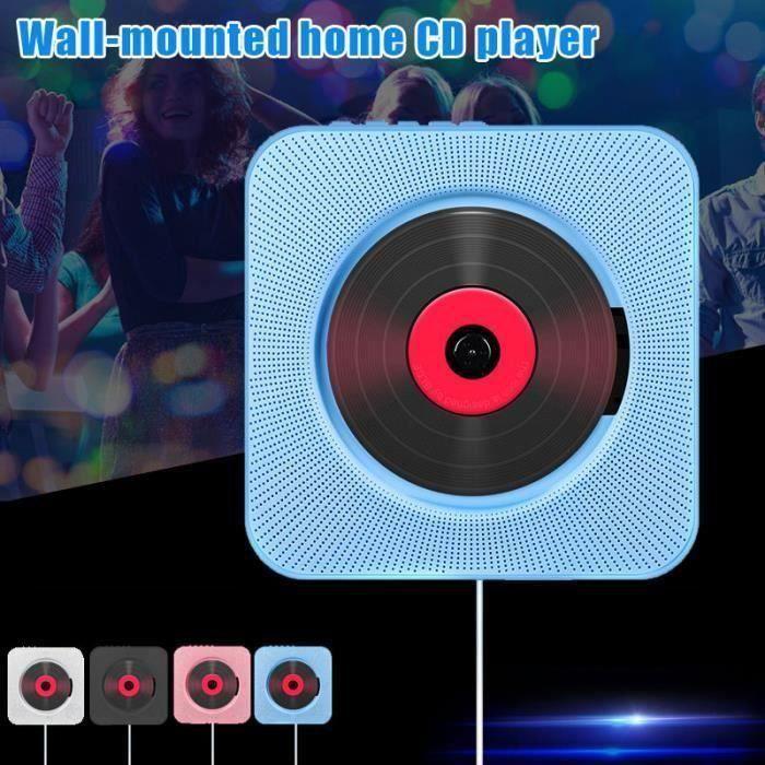 CD Lecteur Mural Montable Bluetooth Lecteur de Musique Stéréo avec Télécommande USB Hi-Fi Innovant Audio FM Radio Portable -Bleu