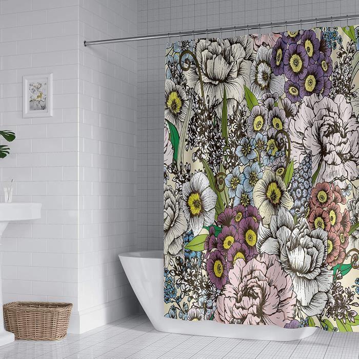 Rideau de Douche Floral 180x180cm Rideaux de Salle de Bain en Polyester Anti-moisissure Imperméable avec 12 Crochets