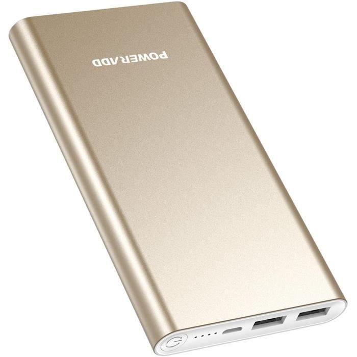 POWERADD Batterie Externe 10000mAh Pilot 2GS Recharger Rapidement Chargeur Portable pour iPhone Huawei Samsung Xiaomi Wiko et d'Autr