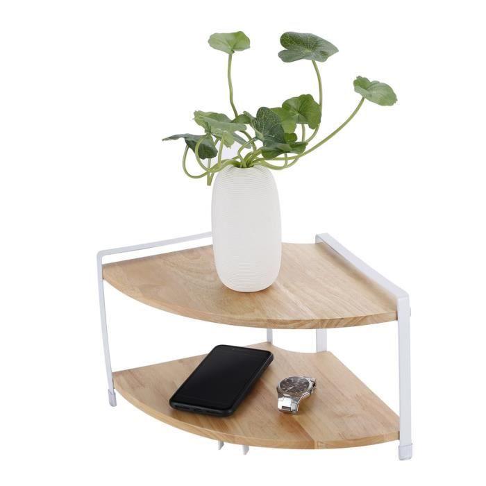AR848 2 couches cuisine support en bois massif en forme d'éventail étagère d'angle supports à épices stockage pot en verre