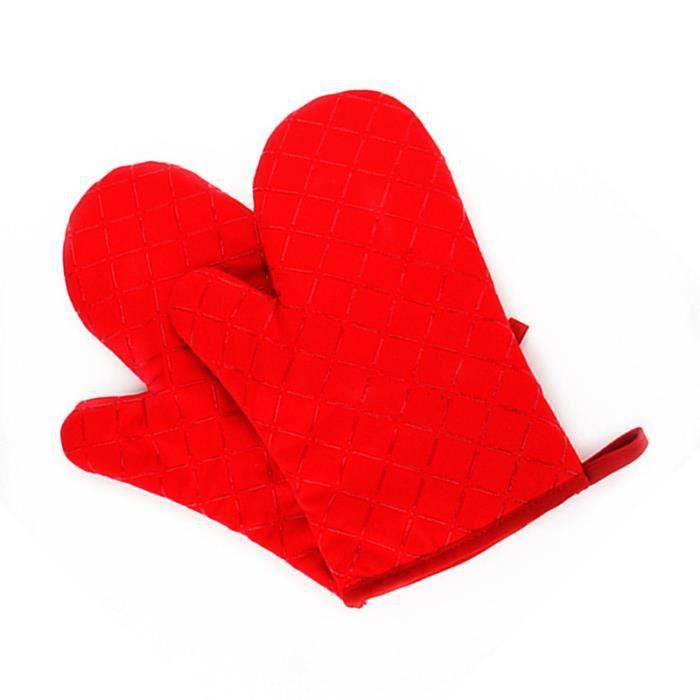 Gants en silicone pour four à micro-ondes Cuisson Isolation thermique résistant à la chaleur Épaississement antidérapant- rouge