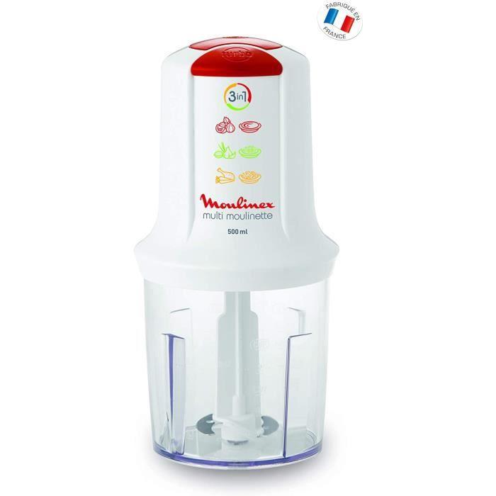 Moulinex Mini Hachoir Électrique Multi Moulinette 3 en 1 Hacher Mixer Emulsionner Mayonnaise Viande Légumes Herbes Epices Fruits Sec