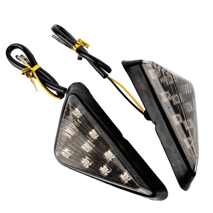 clignotant à LED 2x Moto 12V Euro Triangle Flush Mount Clignotants Fumée Ambre LED AP