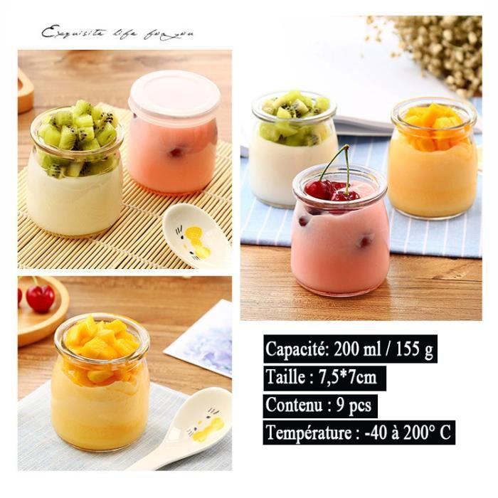 9 Pcs-200ML,Pot Yaourt ou Crème Dessert en Verre avec Couvercles