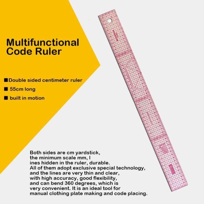 Accessoires de couture Règle partagée métrique double face 55cm rose transparent Mishuowoti 003