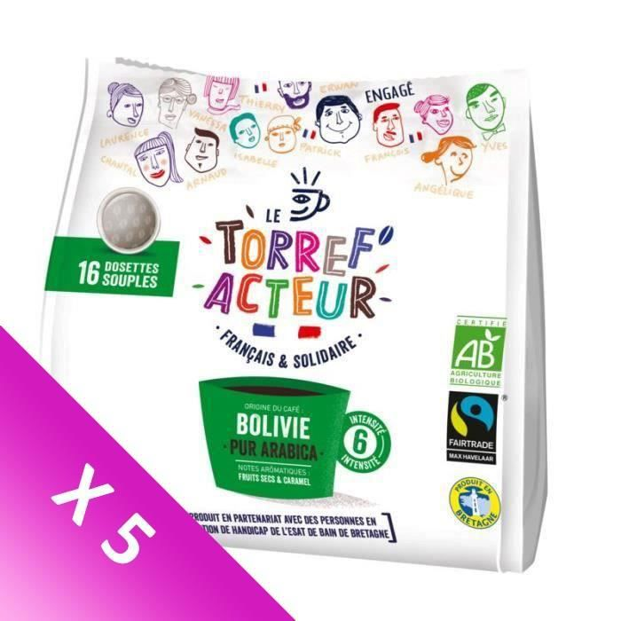 [LOT DE 5] Café moulu en dosettes souples bolovie Bio équitable - 112 g