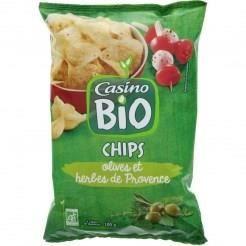 CASINO BIO Chips olives et herbes de provence - 100 g