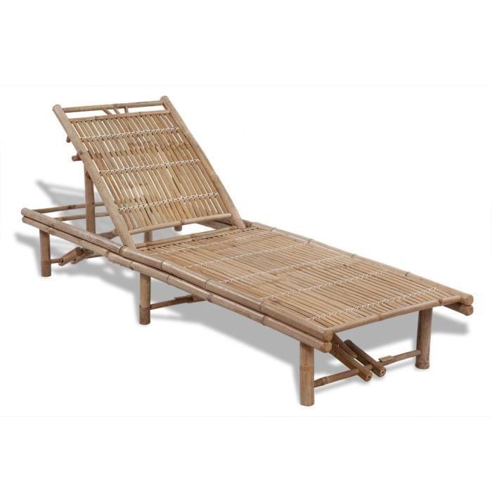Nishore Chaise Longue Bambou Transat de Jardin Patio Piscine Balcon Extérieur réglable en 3 positions 200 x 65 x (24 - 87) cm
