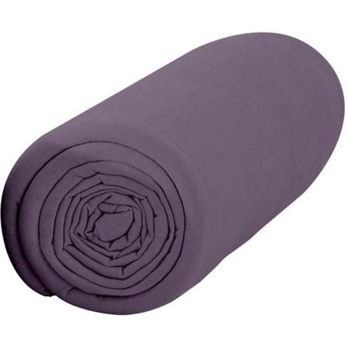 Drap Housse 160X200 2 personnes Percale uni violet PREMIUM