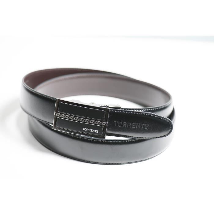 Torrente - Ceinture Reversible Noir/Marron - Cuir - Taille Ajustable - Boucle détachable - Ceinture homme Couture 12